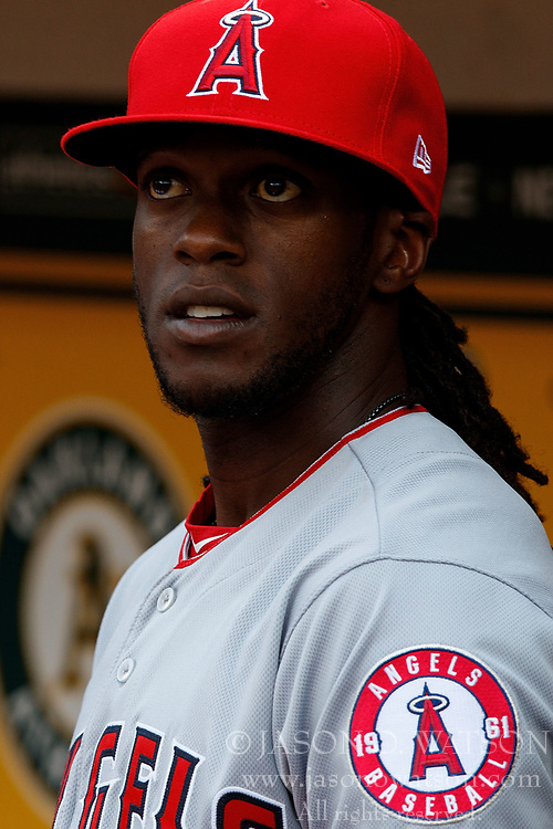 OAKLAND, CA - APRIL 04:  Cameron Maybin #9 of the Los Angeles Angels of Anaheim stands in the dugout before the game against the Oakland Athletics at the Oakland Coliseum on April 4, 2017 in Oakland, California. The Los Angeles Angels of Anaheim defeated the Oakland Athletics 7-6. (Photo by Jason O. Watson/Getty Images) *** Local Caption *** Cameron Maybin