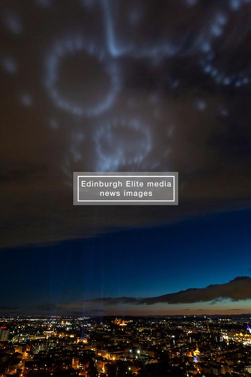 My Light Shines On, Edinburgh International Festival, Edinburgh 08 August 2020; Lights are shone into the sky across the city to celebrate Edinburgh International Festival 2020<br /> <br /> (c) Chris McCluskie   Edinburgh Elite media