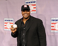 "CHICAGO - JANUARY 08:  Frank Thomas #35 of the Chicago White Sox poses with an autographed baseball inscribed ""HOF 2014"" after addressing the media after being voted into the Major League Baseball Hall of Fame January 8, 2014 at U.S. Cellular Field in Chicago, Illinois.  (Photo by Ron Vesely)"