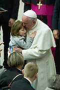 Vatican City jan 20th 2016, weekly general audience. In the picture pope Francis with a sick child