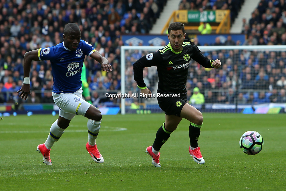 April 30th 2017, Goodison Park, Liverpool, England; EPL Premier league football, Everton versus Chelsea; Eden Hazard of Chelsea breaks away from Enner Valencia of Everton