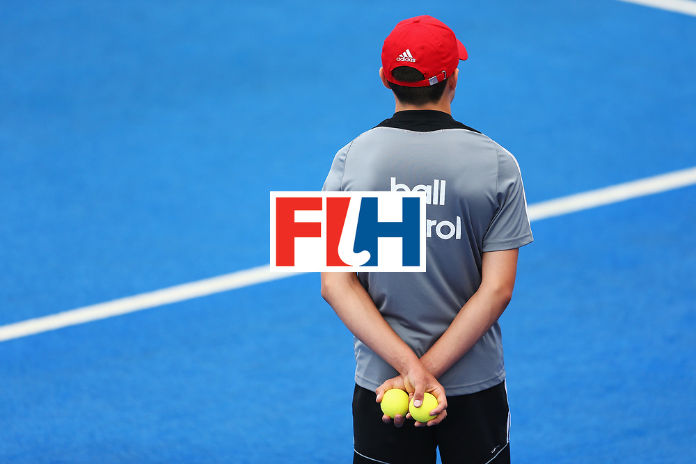 LONDON, ENGLAND - JUNE 25: A ball patrol member of staff looks on during the 7th/8th place match between Pakistan and China on day nine of the Hero Hockey World League Semi-Final at Lee Valley Hockey and Tennis Centre on June 25, 2017 in London, England.  (Photo by Steve Bardens/Getty Images)