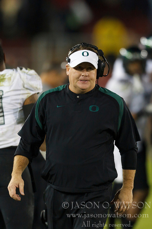 Nov 12, 2011; Stanford CA, USA;  Oregon Ducks head coach Chip Kelly on the sidelines against the Stanford Cardinal during the fourth quarter at Stanford Stadium.  Oregon defeated Stanford 53-30. Mandatory Credit: Jason O. Watson-US PRESSWIRE