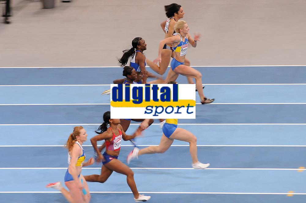 ATHLETICS - INDOOR EUROPEAN CHAMPIONSHIPS PARIS-BERCY 2011 - FRANCE - DAY 3 - 06/03/2011 - PHOTO : JULIEN CROSNIER / DPPI -<br /> WOMEN'S 60 M - FINALE - WINNER - GOLD MEDAL - MARIYA RYEMYEN UKR)