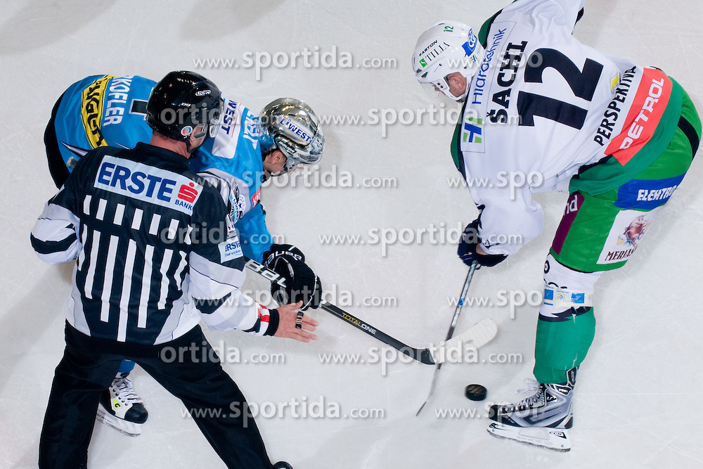 Daniel Oberkofler (EHC Liwest Black Wings Linz, #74) vs Petr Sachl (HDD Tilia Olimpija, #12) at during ice-hockey match between HDD Tilia Olimpija and EHC Liwest Black Wings Linz in 18th Round of EBEL league, on November 5, 2010 at Hala Tivoli, Ljubljana, Slovenia. (Photo By Matic Klansek Velej / Sportida)
