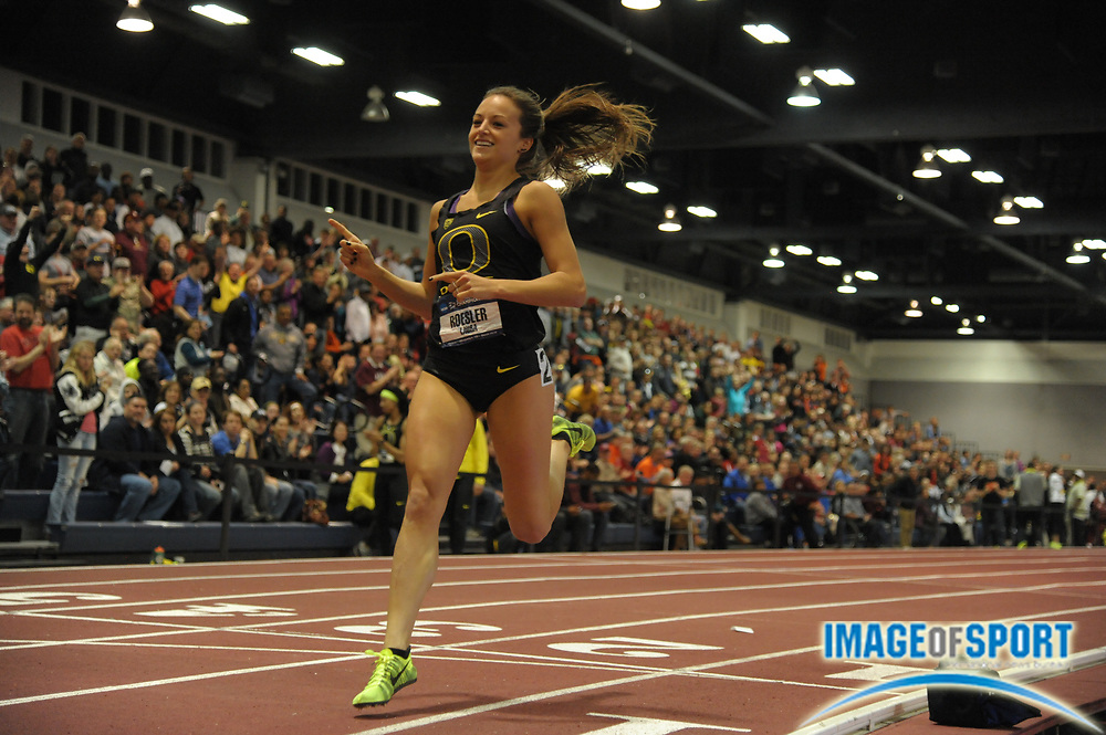 Mar 15, 2014; Albuquerque, NM, USA; Laura Roesler of Oregon celebrates after winning the 800m in 2:03.85 in the 2014 NCAA Indoor Championships at Albuquerque Convention Center.