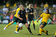 CJ Bott in possession during the Cup of Nations Women's Football match, New Zealand Football Ferns v Matildas, Leichhardt Oval, Thursday 28th Feb 2019. Copyright Photo: David Neilson / www.photosport.nz