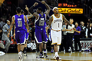 Oct. 30, 2010; Cleveland, OH, USA; The Sacramento Kings celebrate after Cleveland Cavaliers point guard Daniel Gibson (1) missed a three point shot to tie the game during the final seconds of the fourth quarter at Quicken Loans Arena. The Kings beat the Cavaliers 107-104. Mandatory Credit: Jason Miller-US PRESSWIRE