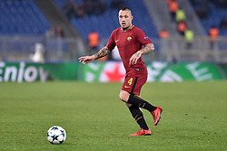 December 5, 2017 - Rome, Italy - Radja Nainggolan of Roma during the UEFA Champions League match between Roma and Qarabag at Stadio Olimpico, Rome, Italy on 5 December 2017  (Credit Image: © Giuseppe Maffia/NurPhoto via ZUMA Press)