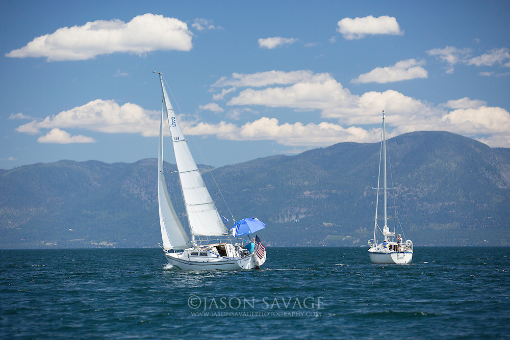 Sailboats on Flathead Lake, Montana