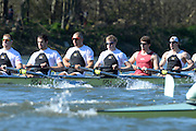 London, United kingdom.  Molesey BC  right to left, Bow: Sam SCRIMEGOUR, 2: Pete ROBINSON, 3: Matt TARRANT, 4: Fred GILL , 5: Mo SBIHI,  6: Phil CONGDON, George NASH, during the Pre 2014 Varsity Boat Race Fixture, Cambridge University BC vs Molesey Boat Club, over the Championship Course; Putney to Mortlake, River Thames, Greater London on Sunday  16/03/2014 [Mandatory Credit: Peter Spurrier/Intersport Images]<br />