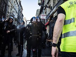 """Yellow Vest protesters in Bordeaux, France .Demonstrators hit French city streets again on March 23, for a 19th consecutive week of nationwide protest ( Act 19 ) against the French President's policies and his top-down style of governing, high cost of living, government tax reforms and for more """"social and economic justice.Photo by Alban Dejong /ABACAPRESS.COM"""