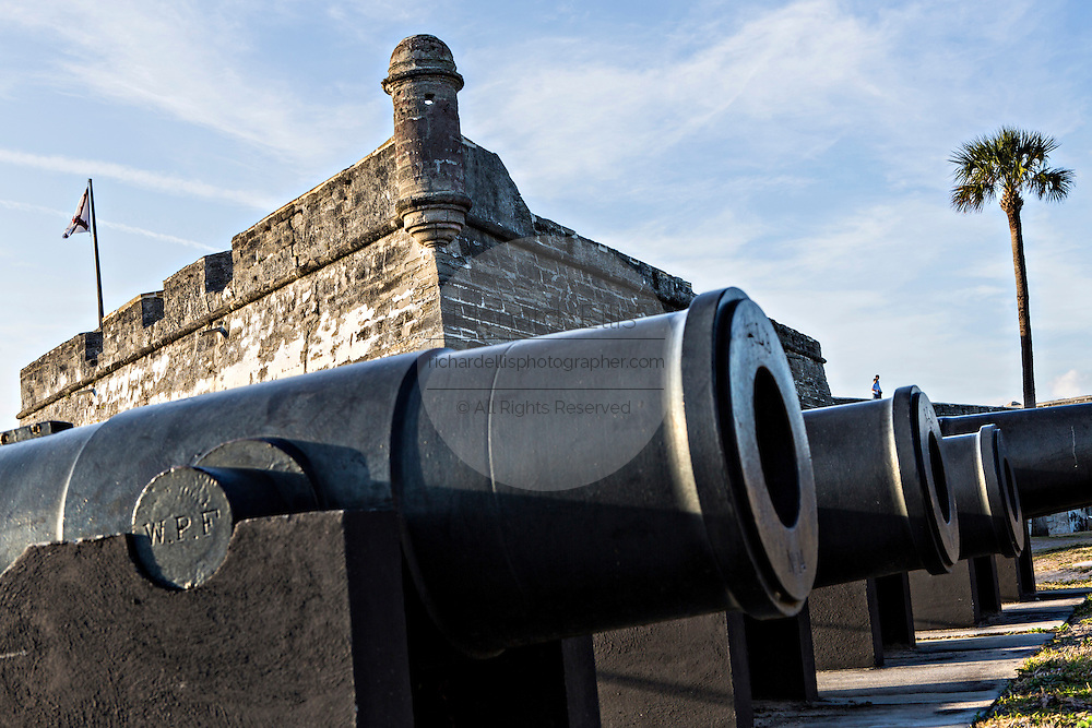 Cannons along the wall of Castillo de San Marcos in St. Augustine, Florida. St Augustine is the oldest city in America.