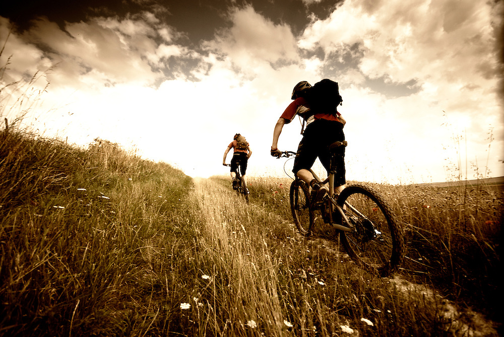 mountain biking on the wiltshire downs in the west of England, including The Ridgeway, means big skies and big cornfields
