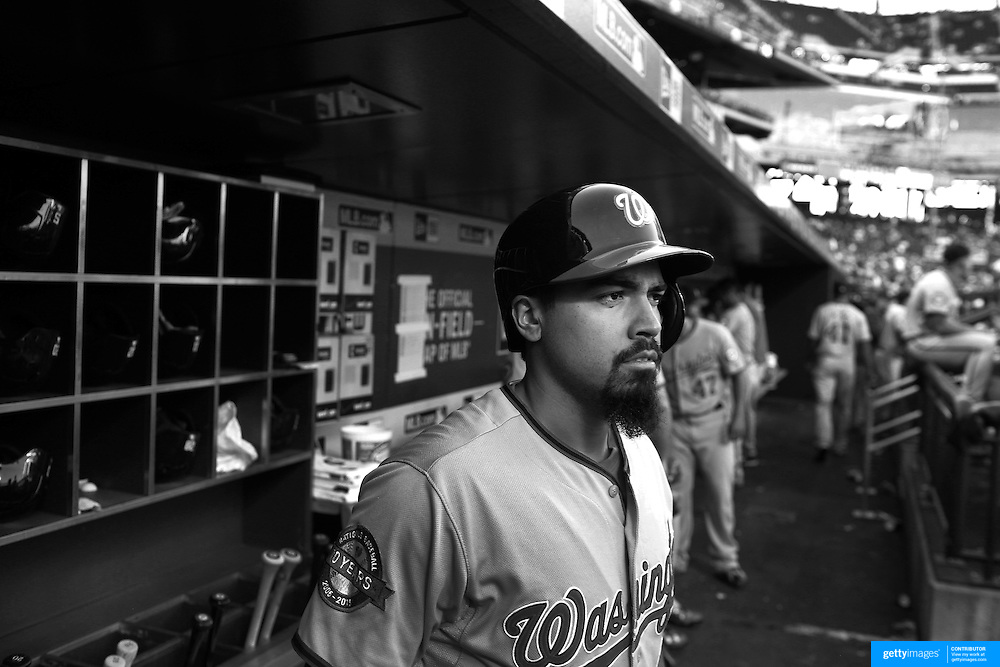 Anthony Rendon, Washington Nationals, in the dugout preparing to bat during the New York Mets Vs Washington Nationals MLB regular season baseball game at Citi Field, Queens, New York. USA. 31st July 2015. Photo Tim Clayton