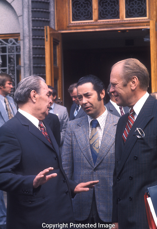 .President Ford meets with Leonid Brezhnev at the US Embassy in Hlssinki, Finland in August 1975....Photograph by Dennis Brack  bs b14