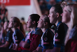 Emilie Moberg and her Hitec Products teammates watch on attentively - Tour of Chongming Island 2016 - Opening Ceremony