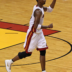 Jun 21, 2012; Miami, FL, USA; Miami Heat power forward Chris Bosh (1) against the Oklahoma City Thunder during the third quarter in game five in the 2012 NBA Finals at the American Airlines Arena. Mandatory Credit: Derick E. Hingle-US PRESSWIRE