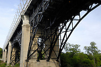 The Prince Edward Viaduct in Toronto also called Bloor Street Viaduct or The Bloor Viaduct Double-decked arch bridge 494 meters long for subway trains and 5-lane Bloor street at Don Valley Toronto Ontario Canada