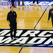 14 March 2018: The San Diego State men's basketball seen here during the open practice and media day prior to it's first round matchup against #6 seed Houston at Intrust Bank Arena in Wichita, Kansas.