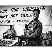 Liberian soldiers loyal to Prince Y.Johnson at his headquarters outside Monrovia. 1990 Ed Hille
