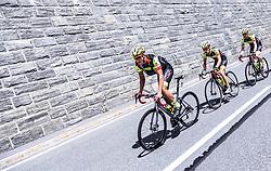 10.07.2019, Fuscher Törl, AUT, Ö-Tour, Österreich Radrundfahrt, 4. Etappe, von Radstadt nach Fuscher Törl (103,5 km), im Bild v.l.: Jannik Steimle (Team Vorarlberg Santic, GER), Patrick Schelling (Team Vorarlberg Santic, SUI) // during 4th stage from Radstadt to Fuscher Törl (103,5 km) of the 2019 Tour of Austria. Fuscher Törl, Austria on 2019/07/10. EXPA Pictures © 2019, PhotoCredit: EXPA/ JFK
