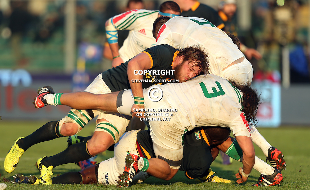 PADUA, ITALY - NOVEMBER 22: Duane Vermeulen of South Africa driving Martin Castrogiovanni of Italy off the ball during the Castle Lager Outgoing Tour match between Italy and South African at Stadio Euganeo on November 22, 2014 in Padua, Italy. (Photo by Steve Haag/Gallo Images)