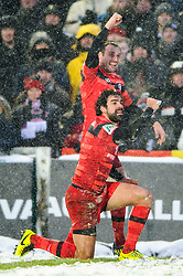 Toulouse Winger (#11) Yoann Huget celebrates scoring a try with Number 8 (#8) Louis Picamoles during the second half of the match - Photo mandatory by-line: Rogan Thomson/JMP - Tel: Mobile: 07966 386802 20/01/2013 - SPORT - RUGBY UNION - Welford Road - Leicester. Leicester Tigers v Toulouse - Heineken Cup Round 6. This is a crucial match for both sides with the winner topping Pool 2 to progress to the Quarter Final stage of the competition.