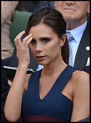Image ©Licensed to i-Images Picture Agency. 06/07/2014. London, United Kingdom. Victoria Beckham watches the Mens 2014 Wimbledon final from the Royal Box between Rodger Federer and Novak Djokovic  on Centre court.  Picture by Andrew Parsons / i-Images