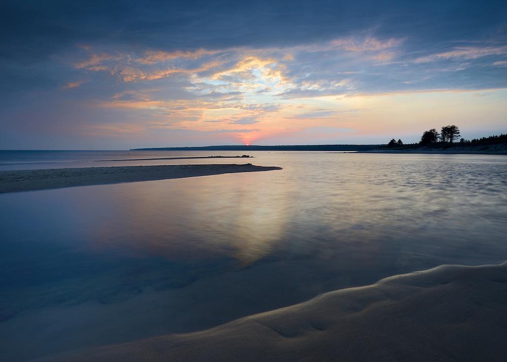 Sunrise over the Au Train River and Lake Superior, in Michigan's Upper Peninsula