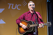 Billy Bragg performing at the TUC demo at the Conservative party conference, Manchester. 4th October 2015