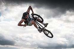 A BMX rider at the Brownstock Festival in Essex.