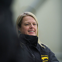 Sarah Hodges, Head coach (19th Season) of the Regina Cougars women's hockey team in action during the Women's Hockey Game on November 25 at Co-operators arena. Credit: Arthur Ward/Arthur Images