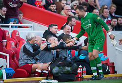 LIVERPOOL, ENGLAND - Saturday, March 24, 2018. Jerzy Dudek David James of Liverpool Legends reacts with the bench during the LFC Foundation charity match between Liverpool FC Legends and FC Bayern Munich Legends at Anfield. (Pic by Peter Powell/Propaganda)