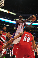 Apr 18, 2010; Phoenix, AZ, USA; Phoenix Suns forward Amare Stoudemire (1) rebounds the ball during the first quarter in game one in the first round of the 2010 NBA playoffs at the US Airways Arena.  Mandatory Credit: Jennifer Stewart-US PRESSWIRE