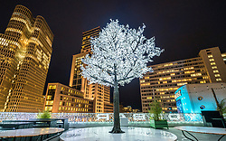 Christmas tree at night on outside bar at Bikini Berlin shopping centre in Berlin, Germany