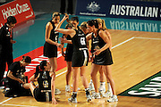 Silver Ferns break<br /> Netball - 2009 Holden International Test Series<br /> Australian Diamonds v New Zealand Silver Ferns<br /> Wednesday 9 September 2009<br /> Hisense Arena, Melbourne AUS<br /> © Sport the library / Jeff Crow
