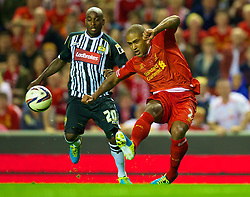 27.08.2013, Anfield, Liverpool, ENG, League Cup, FC Liverpool vs Notts County FC, 2. Runde, im Bild Liverpool's Glen Johnson in action against Notts County during the English League Cup 2nd round match between Liverpool FC and Notts County FC, at Anfield, Liverpool, Great Britain on 2013/08/27. EXPA Pictures © 2013, PhotoCredit: EXPA/ Propagandaphoto/ David Rawcliffe<br /> <br /> ***** ATTENTION - OUT OF ENG, GBR, UK *****