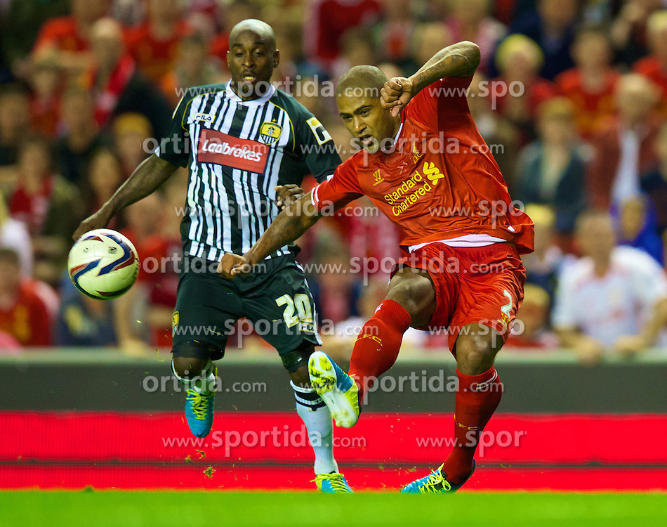 27.08.2013, Anfield, Liverpool, ENG, League Cup, FC Liverpool vs Notts County FC, 2. Runde, im Bild Liverpool's Glen Johnson in action against Notts County during the English League Cup 2nd round match between Liverpool FC and Notts County FC, at Anfield, Liverpool, Great Britain on 2013/08/27. EXPA Pictures &copy; 2013, PhotoCredit: EXPA/ Propagandaphoto/ David Rawcliffe<br /> <br /> ***** ATTENTION - OUT OF ENG, GBR, UK *****