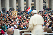 VATICAN CITY 18 OCTOBER 2017: Photographs from the General Audience with Pope Francis on October 18, 2017 at Saint Peters Square in Vatican City, Rome, Italy.