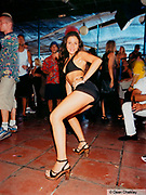 Girl posing for the camera on a dancefloor, Space, Ibiza, 2000
