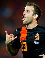 In action for  Rafael van der Vaart he celebrates his goal   The Netherlands versus    Slovakia during friendly soccer match between Netherlands vs Slovakia in Rotterdam on May 30, 2012. AFP PHOTO/ ROBIN UTRECHT