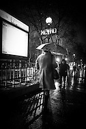 France. Paris 7th. subway entrance on avenue des Invalides at night