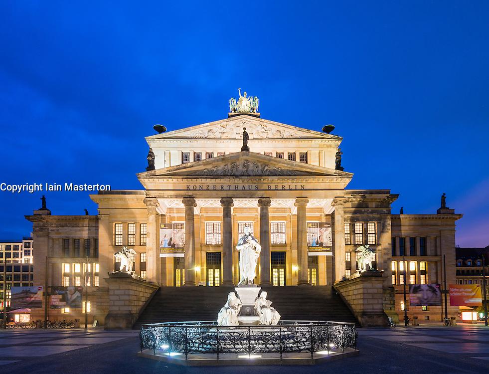 Historic Konzerthaus and Statue of Friedrich Schiller in Gendarmenmarkt square in Mitte Berlin Germany