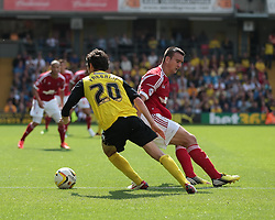 Watford's Diego Fabbrini gives Nottingham Forest's Jack Hobbs the slip  - Photo mandatory by-line: Nigel Pitts-Drake/JMP - Tel: Mobile: 07966 386802 25/08/2013 - SPORT - FOOTBALL -Vicarage Road Stadium - Watford -  Watford v Nottingham Forest - Sky Bet Championship