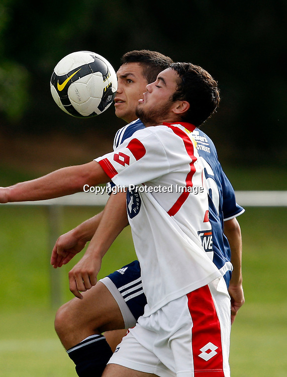Auckland's Nikko Boxall and Waitakere's Dakota Lucas chase the ball. Lion Foundation Youth League Football, Waitakere United v Auckland City FC, Fred Taylor Park Whenuapai. Saturday 30th January 2010. Photo: Shane Wenzlick/PHOTOSPORT