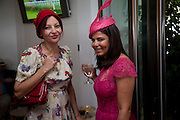 PEARL LOWE; ; Daniella Issa Helayel;, Glorious Goodwood. Ladies Day. 28 July 2011. <br /> <br />  , -DO NOT ARCHIVE-© Copyright Photograph by Dafydd Jones. 248 Clapham Rd. London SW9 0PZ. Tel 0207 820 0771. www.dafjones.com.