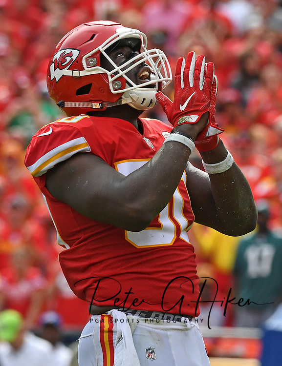 Outside linebacker Justin Houston #50 of the Kansas City Chiefs gives thanks after a sack during the fourth quarter of the game against the Philadelphia Eagles at Arrowhead Stadium in Kansas City, Missouri.