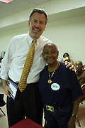 l to r: Public Advocate Candidate Bill De Blasio and Una Clarke at  The St.Gabriels' Episcopal/Angelican Church's Senior Center in the Lefferts Garden section of Brooklyn on July 22, 2009 in Brooklyn, New York