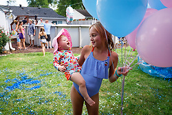LOUISVILLE, Ky., -- Jennie and Kevin announce the sex of their new baby with a piñata and cupcakes, Sunday, Sept. 02, 2018 in the Bonnie's Bungalow in LOUISVILLE.